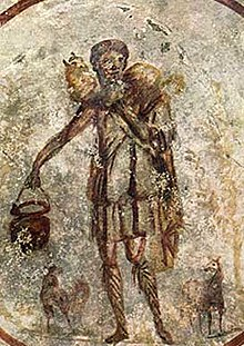 Jesus as the Good Shepherd, painting on ceiling of S. Callisto catacomb, early Christian art, mid 3rd century A.D.. Example of earliest Christian art showing a pastural scene in the afterlife.