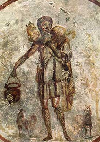 Depiction of Jesus - Jesus in the Catacombs of Rome. Third-century fresco from the Catacomb of Callixtus of Christ as the Good Shepherd.