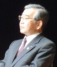 Governor Shimane Zenbe Mizoguchi. In the case of a symposium of the Kojiki, I photographed it at Meiji university.jpg