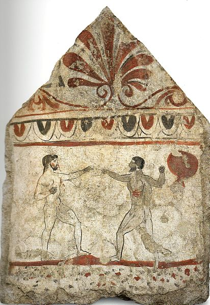 Painting of Greek Boxers On Stone