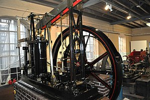 English: Grasshopper Steam Engine in Derby Ind...