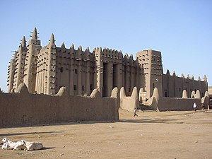 Islam in Africa - The Great Mosque of Djenne, Mali, originally built in the reign of King Mansa Musa of the Mali Empire in the 13th century. A prime example of the Sudano-Sahelian architectural style of West Africa.
