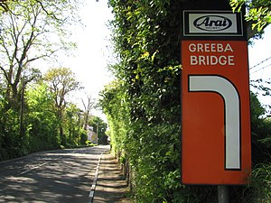 Greeba Bridge - The A1 Douglas to Peel road approaching Greeba Bridge
