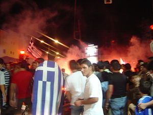 UEFA Euro 2004 Final - Greek fans celebrating their win.