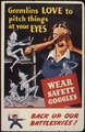 Gremlins love to pitch things at your eyes. Wear safety goggles. Back up our battleskies^ - NARA - 535379.tif