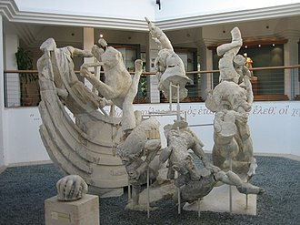"Agesander of Rhodes - The ""Scylla group"" of the Sperlonga sculptures.  The signatures are carved on the ship's prow."