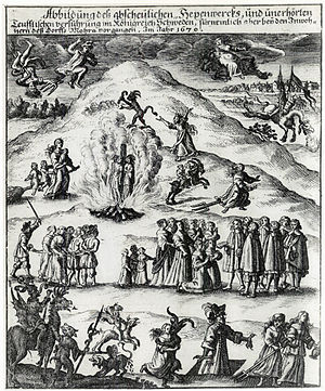 1669 in Sweden - The famous German illustration of the Mora witch trial, 1670. In the illustration, however, the condemned are executed by burning at the stake, which was a common execution method in witch trials in Germany, but did in fact not occur at the Mora witch trial.