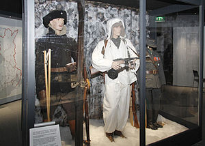 Military Museum of Finland - Two Finnish soldiers from the Winter War and Simo Häyhä's uniform in the former exhibition
