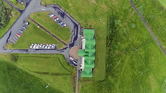Guðjón Samúelsson - Héraðsskólinn Schoolhouse top-down view from the sky
