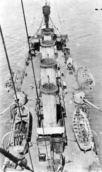 HMAS Melbourne (1912) - Looking aft from top of foremast, showing four 6-inch guns