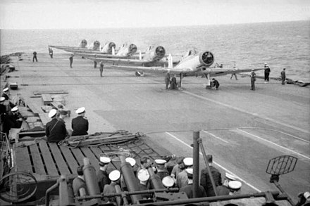 Blackburn Skuas of No 800 Squadron Fleet Air Arm prepare to take off from HMS Ark Royal HMS Ark Royal planes.jpg
