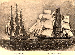 Sunny South (clipper) - Image: HMS Brisk and Emanuela