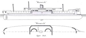 HMS Monarch (1868) - Diagrams showing location of gun turrets and armour protection, as depicted in Brassey's Naval Annual 1888