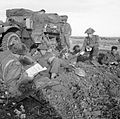 Half-track and troops of 8th Battalion, The Rifle Brigade, 11th Armoured Division, during Operation 'Epsom', Normandy, 29 June 1944. B6194.jpg