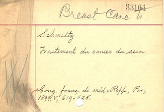 Cataloging - Image: Handwritten subject card