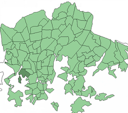 Position of Meilahti within Helsinki