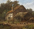 Hendrik Pieter Koekkoek - Thatched barn with chickens to the foreground.jpg