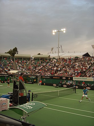 2006 Australian Open - Tim Henman and Dmitry Tursunov playing on the Margaret Court Arena in the first round.
