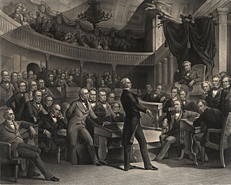 "Compromise of 1850 - ""The United States Senate, A.D. 1850"" (engraving by Peter F. Rothermel): Henry Clay takes the floor of the Old Senate Chamber; Vice President Millard Fillmore presides as John C. Calhoun (to the right of the Speaker's chair) and Daniel Webster (seated to the left of Clay) look on."
