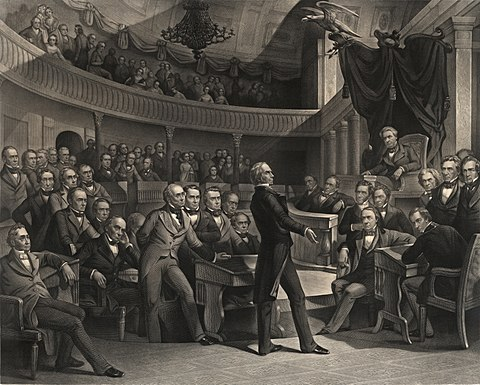 """The United States Senate, A.D. 1850"" (engraving by Peter F. Rothermel):
