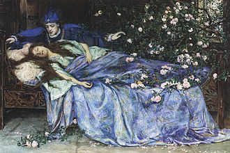 Transformations (opera) - The prince discovers the sleeping Briar Rose in a painting by Henry Maynell Rheam