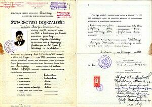 """Matura - A 1938 matura certificate (titled świadectwo dojrzałości, """"certificate of maturity"""")"""