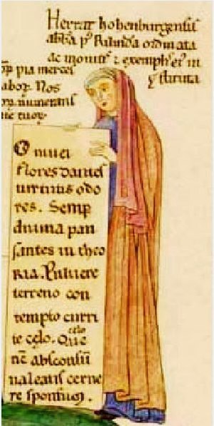 "Herrad of Landsberg - Herrad of Landsberg Selfportrait from Hortus deliciarum, ca. 1180. The description in Latin reads: ""Herrat hohenburgensis abbatissa post Rilindam ordinata ac monitis et exemplis eius instituta"". These are the initial words of the description from the last miniature (fol.322-323) of the Hortus deliciarum."
