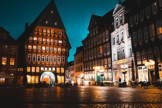 Hildesheim - The historic market square at night