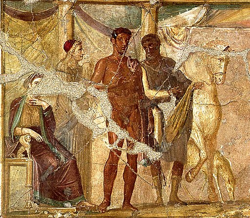 Hippolytus and Phaedra, fresco from Pompeii