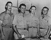エノラ・ゲイ乗組員, 左からFerebee, Tibbets, Kirk, Lewis