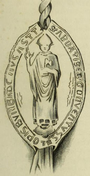 Abbots of Shrewsbury - Seal of Shrewsbury Abbey, 1539, showing a mitred abbot  holding the Keys of Peter, symbol of the abbey's patron saint.