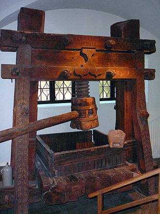 Printing press - Early modern wine press. Such screw presses were applied in Europe to a wide range of uses and provided Gutenberg with the model for his printing press.