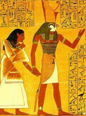 Horus, ancient Egyptian God, the Sun God, depi...