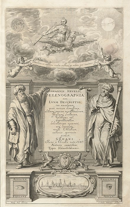 Hevelius's Selenographia, showing Alhasen [sic] representing reason, and Galileo representing the senses. Houghton Typ 620.47.452 - Selenographia, title.jpg