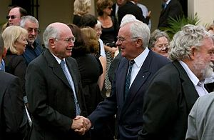 Bill Hayden - Bill Hayden and John Howard at Padraic McGuinness's funeral in 2008