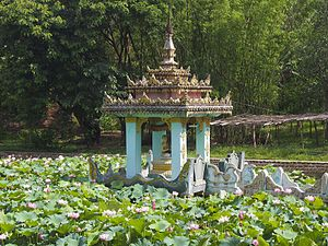 Shin Upagutta - A waterfront shrine to Shin Upagutta in Thibaw.