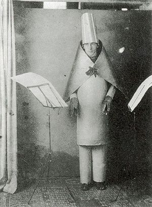 "Marcel Janco - Hugo Ball in the ""bishop dress"", 1916"