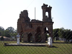 Humaitá - The ruined church of San Carlos de Borromeo, Humaitá, destroyed during the siege