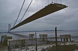 Humber Bridge - The deck under construction in May 1980. The deck was erected between October 1979 and July 1980