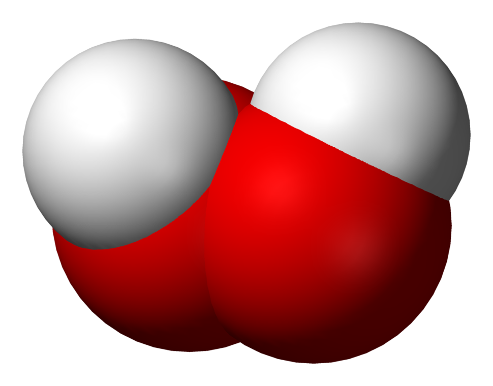 space filling model of the hydrogen peroxide molecule