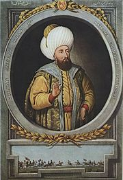 Half-portrait of a bearded man wearing a large turban, surrounded by an oval frame, with a hunting scene below