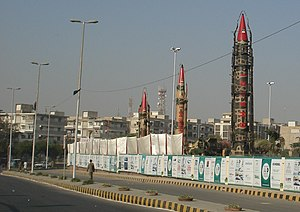 Pakistan and weapons of mass destruction - Pakistani Missiles on display at the IDEAS 2008 defence exhibition in Karachi, Pakistan.