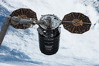 Cygnus CRS OA-7 - Cygnus OA-7 grappled by Canadarm2