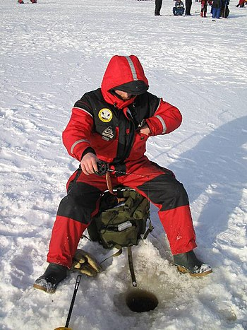 English: Ice fishing in the Finnish Miljoonapi...
