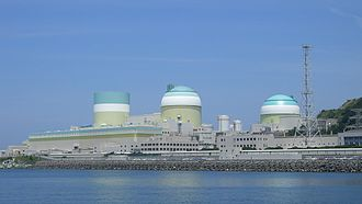 The Ikata Nuclear Power Plant, a pressurized water reactor that cools by utilizing a secondary coolant heat exchanger with a large body of water, an alternative cooling approach to large cooling towers. Ikata Nuclear Powerplant.JPG