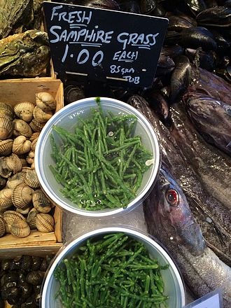 Samphire - Fresh samphire from the Loughor estuary for sale at Swansea Market