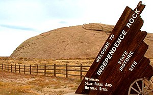 History of Wyoming - Independence Rock, a famous Wyoming landmark along the Oregon Trail