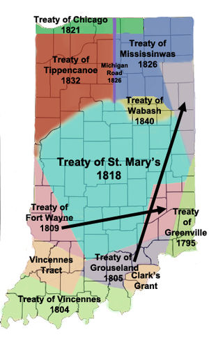 James B. Ray - Map of Land Cession treaties in Indiana