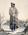 Individual of the Sautaux First Nation, standing in a winter landscape, wearing a winter cape, and holding a bow and arrows.png