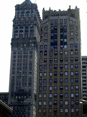 Griswold Street - Book Tower (left) and Industrial-Stevens Apartments both by Louis Kamper.
